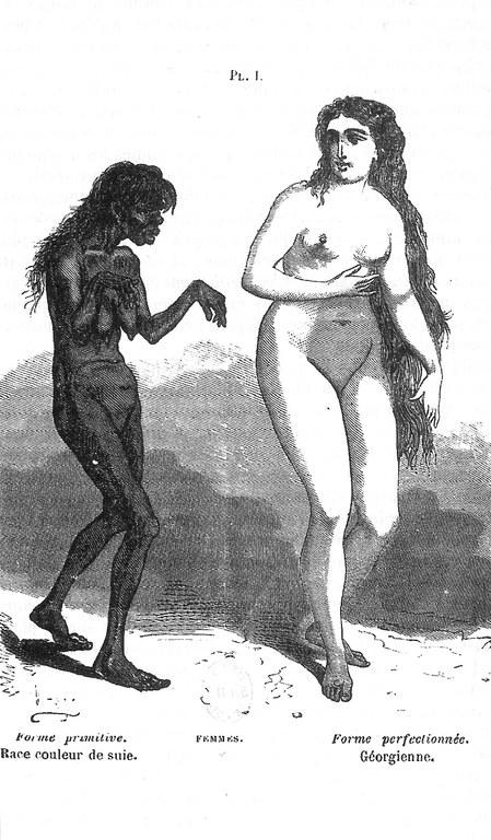 """Femme sauvage et femme civilisé in A. Debay, """"Histoire naturelle de l'homme et de la femme"""", 1858"""