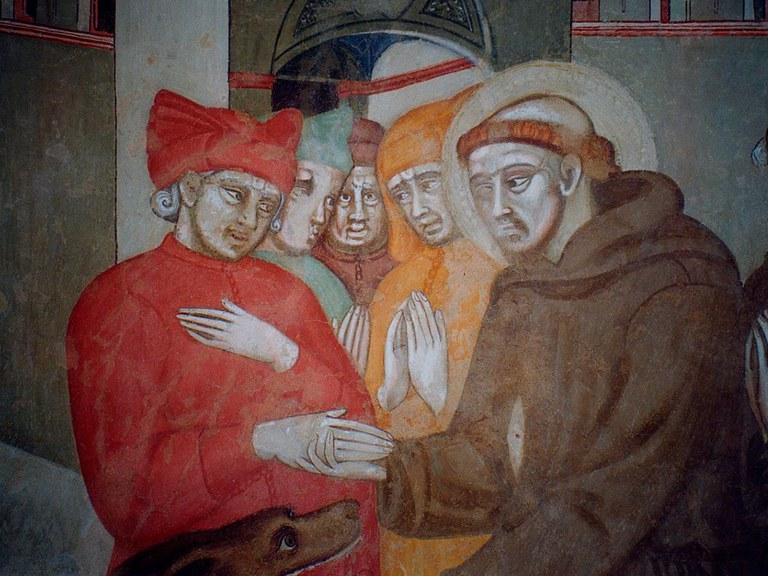 Cristoforo di Bindoccio e Meo di Pero - San Francesco e il lupo di Gubbio (partricolare)