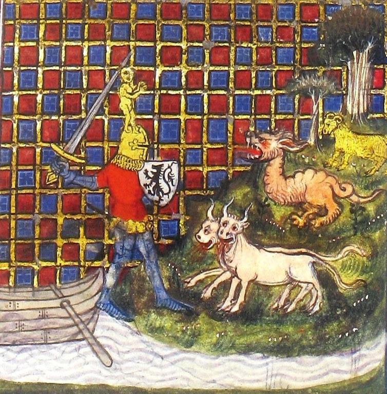 Jason combat les taureaux d'airain et le dragon - fin XIV siècle