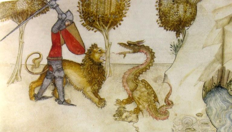 Yvain et le lion combattent le dragon - vers 1380