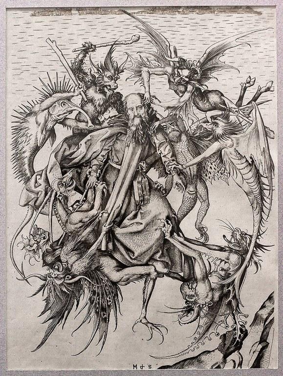 Schongauer, La Tentation de saint Antoine, gravure sur cuivre, vers 1470, Berlin